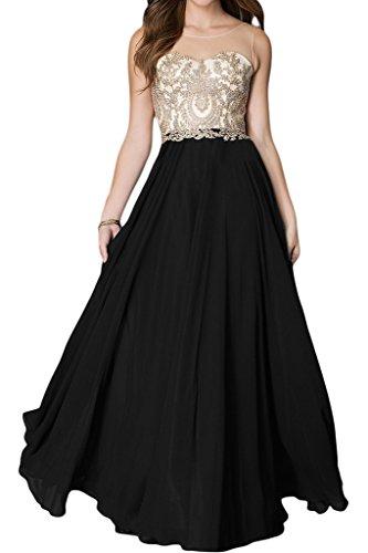 ivyd ressing Femme Haute Qualité Motif dentelle col rond a ligne robe longue Prom Party robe robe du soir Noir - Noir