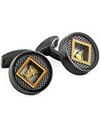 Tateossian Men Brass Black Cufflinks CL7172
