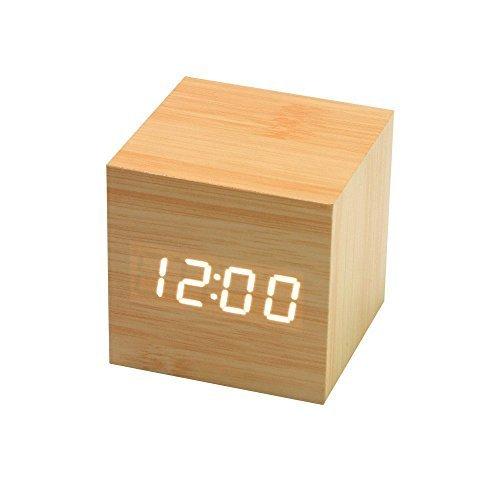 Onerbuy Wooden Digital Cube Wecker Touch Sound Aktiviert Schreibtisch Uhr Tragbare Reise Uhr mit LCD Display für Zeit, Temperatur, Kalender, 3 Alarm Einstellungen - Mit Schreibtisch-uhr Temperatur