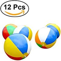 TOYMYTOY 12 Pack Niños inflables bolas de playa rainbow ball para piscinas beach playing