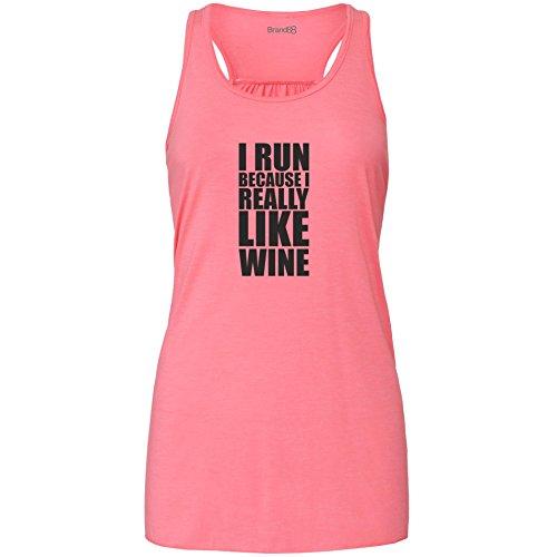 Preisvergleich Produktbild I Run Because I Really Like Wine,  Damen Flowy Racer Tank Top - Rosa M ( UK Größe 12 )