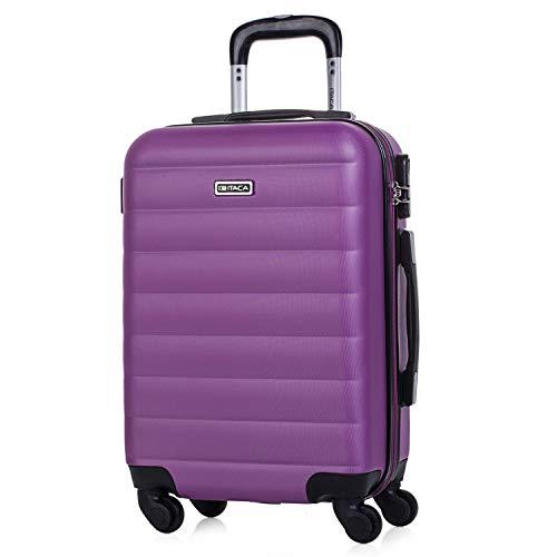 ITACA - Koffer Trolley Kabine ABS 50 cm. Handgepäck. Steif und leicht. Teleskop-Handgriff, 2 Griffe, 4 Räder. Ideale Low-Cost Ryanair Vueling Flüge 71250, Color Violet