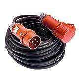 AS Schwabe 60566 - Cable alargador eléctrico (400 V/16 A, 10 m, H07RN-F5G1,5, IP44, enchufe con inversión de fase), color negro