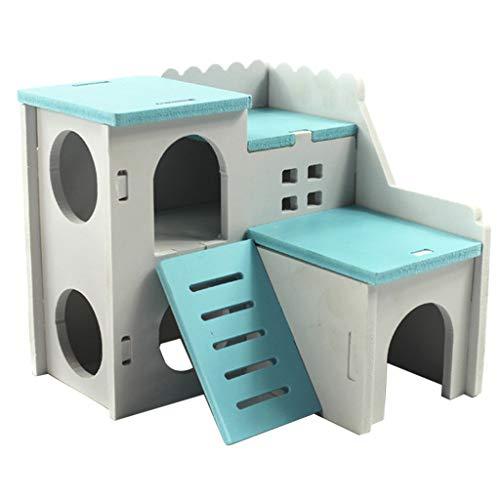 Homyl Hamsterhaus Kleintierhaus Nagerhaus Schloss Villa mit Leiter für Hamster, Ratte, Meerschweinchen, Frettchen, Chinchilla, Igel, Eichhörnchen, usw. - Blau