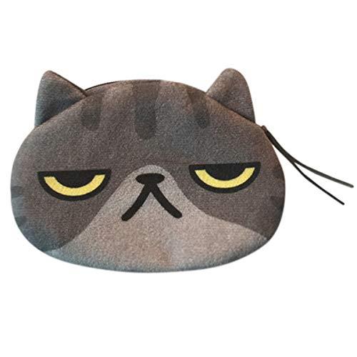 B-commerce Damen frauen Nette Druck Katze Gesicht Mädchen Plüsch Geldbörse Geldbörse Tasche Baumwollgewebe Klappe Brieftasche Kupplungen