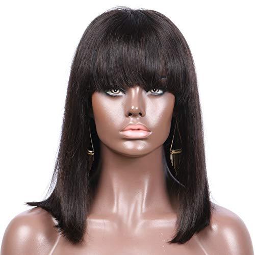 hyfyhtgjj Wig Gerade Kurze Bob Lace Front Echthaar Perücken mit Pony Natürliche Farbe Indian non-remy Hair 130Dichte Bob Perücken für Frauen