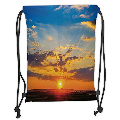 GONIESA Drawstring Sack Backpacks Bags,Yellow and Blue,Dramatic Sunset Horizon View Amongst Clouds Idyllic Weather Dreamy Scene,Orange Blue Soft Satin,5 Liter Capacity,Adjustable String Closure -