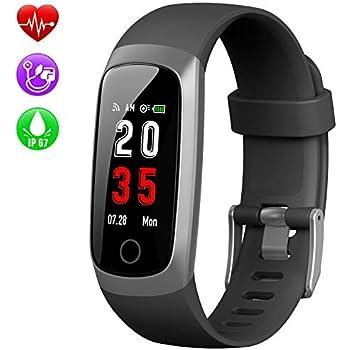 Kilponen Montre Connectée Bracelet Connecté Podomètre Smartwatch Femme Homme Enfant Fitness Tracker dActivité Cardio Sport Etanche IP67 pour iPhone Samsung ...