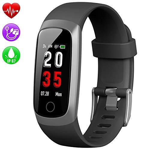 Kilponen Fitness Tracker Orologio Fitness - Cardiofrequenzimetro da Polso Contapassi Impermeabile IP67 GPS Cronometro da Polso Fascia Cardio Activity Tracker SmartWatch per Uomo Donna per Android iOS