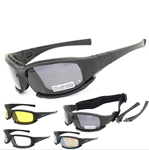 KnBoB Brille Tactical Motorradbrille Wechselgläser Brille Winddicht Klar Schwarz