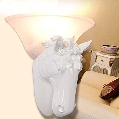 QFF Weiß / braun / schwarz Pferd Kopf Wandleuchte American Style Retro kreative Wandleuchte ( Farbe : Weiß )