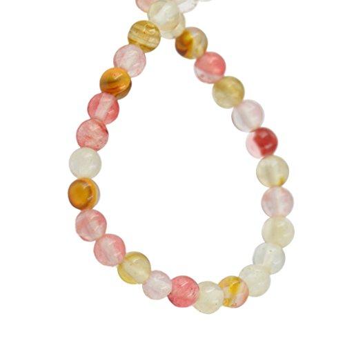 4mm Sandía Turmalina Piedras Preciosas Perlas Redondas Hebra