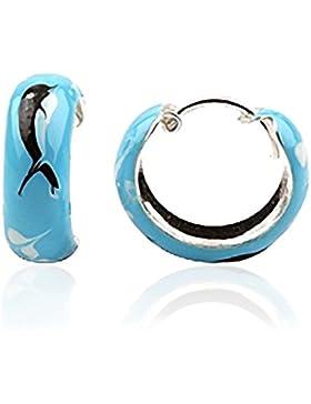 JAYARE Kinder-Creolen Delfin 925 Sterling Silber Emaille 15 x 5 mm hell-blau Ohrringe