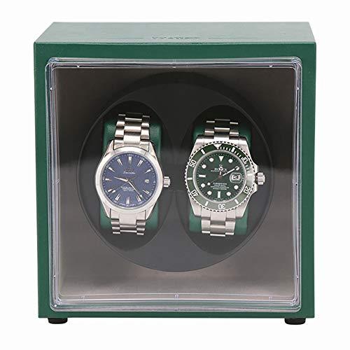GUOSJ Automatischer Doppel Uhrenbeweger- Watch Winders aus Holz für 2 Uhren - Uhrenvitrine mit leisem Motor und Doppelspeisung, grün
