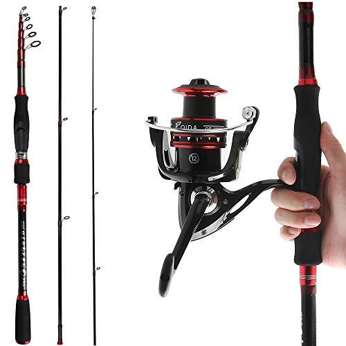 Reawow canna da pesca telescopica e mulinello combo, portatile, in fibra di carbonio, canna da pesca profonda con mulinello per spigola, 2 pezzi per viaggi