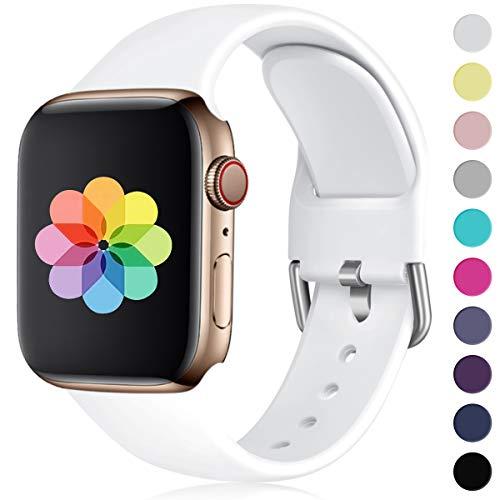 HUMENN Kompatibel mit Apple Watch Armband 38mm 40mm 42mm 44mm, Weiches Silikon Klassisch Sport Ersatzband für iWatch Series 4,3,2,1, 38mm/40mm-S/M Weiße -