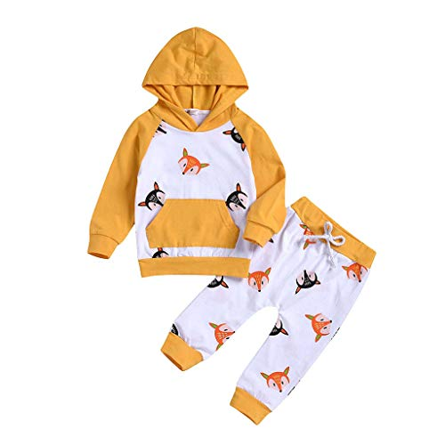 Julhold Kleinkind Kinder Jungen Mädchen Cute Fashion Hooded Cartoon Baumwolle Slim Sweatshirt + Hosen Outfits Sets 0-5 Jahre - Hooded Fashion Sweatshirt
