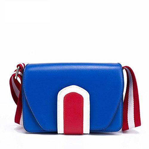 FZHLY Nuovo Cuoio Largo Tracolla Messenger Bag Coreana Selvatica Piccola Borsa Piazza,Blue Blue