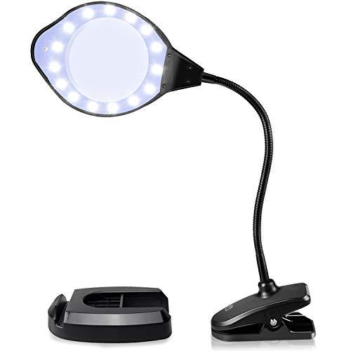 EletecPro Lupenleuchte 2-4 Fach Vergrößerung,30 Watts mit LED Tageslicht, Klemme und Handy Halter...