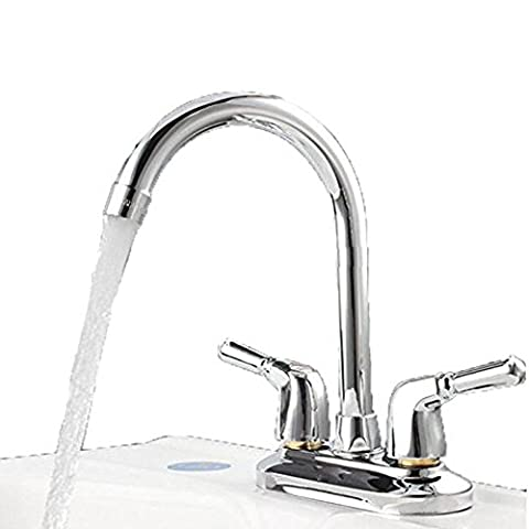 SHOME Double Silver Stainless Steel Mixer Tap Dual Spout Brass Two Inputs Two Handle Bathroom Cold Hot Cold Water Basin Tap Bathroom Basin Mixer Tap with