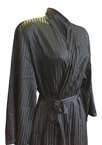 Ladies quality Satin slinky Wrap, Dressing Gown, Kimono (12/14 uk-40-42 eur, Black Stripe)