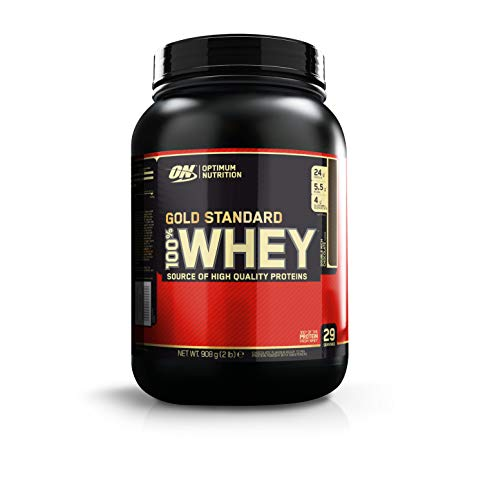 Optimum nutrition 100% whey gold standard, proteine in polvere per lo sviluppo muscolare con glutammina e aminoacidi, doppio cioccolato, 0.9 kg, 29 porzioni