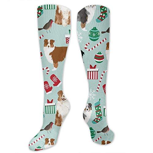 YudoHong Australian Shepherd Christmas Cute Aussie Dogs Men's/Women's Sensitive Feet Wide Fit Crew Socks and Cotton Crew Athletic Sock (Peds Crew Socken)