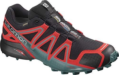 Salomon Speedcross 4 GTX, Scarpe da Trail Running Uomo, Nero Black/High Risk Red/Mediterranean Blue, 49 1/3 EU