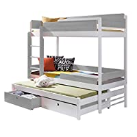 Triple Bunk Bed NATURE 3 Modern Trundle High Sleeper Mattress Drawers Ladder 3 Children Pine Wood (Left Hand Side, Shorter Size)