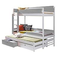 Triple Bunk Bed NATURE 3 Modern Trundle High Sleeper Mattress Drawers Ladder 3 Children Pine Wood (Left Hand Side, Shorter Size)