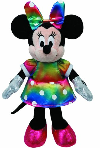 Ty 41084 – Disney – Glitter Minnie with Sound, Colourful Glittery Dress and Bow, 20 cm
