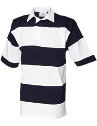 Front Row Herren Rugby Polo-Shirt, Kurzarm, gestreift