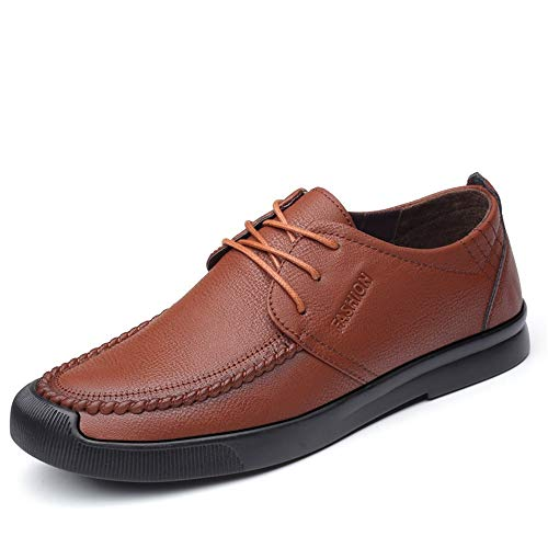 HILOTU Oxford Schuhe Für Männer Formelle Schuhe In Reiner Farbe Schnürstyle PU Leder Crushproof Toe Sneakers (Color : Braun, Größe : 39 EU)