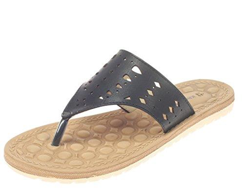 Khadims Khadim's Womens Black Faux Leather Flats -5