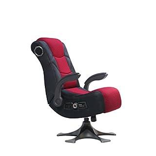 X-Rocker 5129101Ständer Video Gaming Stuhl 2.1Mikrofaser Mesh, Schwarz/Rot