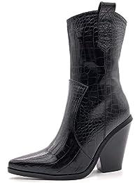 35d3c5b62 Angkorly - Zapatillas Moda Botines santiags Cowboy Vaquero Rock Mujer  impresión de Serpiente pitón cocodrilo Barnizado