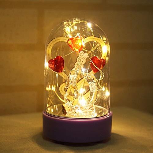 0.17 Miniatur (DKFS Beauty Rose Und Beast Batteriebetriebene Led Musik Nachtlichter Beste Dekorative Bär Gitarre Handwerk Figur Miniatur Modell 2)