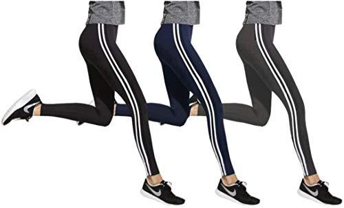 Galleria fotografica OROCOLATO FASHION 3 Leggins Sportivi donna in cotone elasticizzato Spandex PACCO DA 3 assortito (nero, grigio scuro, blu), o Pacco da 3 monocolore (nero) per finess, yoga, Gym, workout …