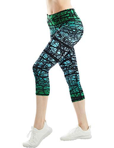 COOLOMG Damen Sport Leggings 3/4 Yoga Hose Jogginghose Workout Fitness Caprihose Printed S-XL (X-Large, GB-Grün (capri)) -