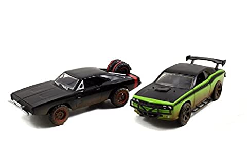 Dom's 1970 Dodge Charger R/T Off Road and Letty's Dodge Challenger SRT8 Fast & Furious 7 Movie Set of 2 Cars 1/32 by Jada 97340 by Jada