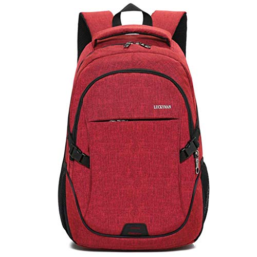 Reiserucksack Großer Computerrucksack Nylontuch Atmungsaktive und tragbare Taschen Für Männer Frauen Für 15,6 Zoll Laptop Und Notebook (Color : Red)