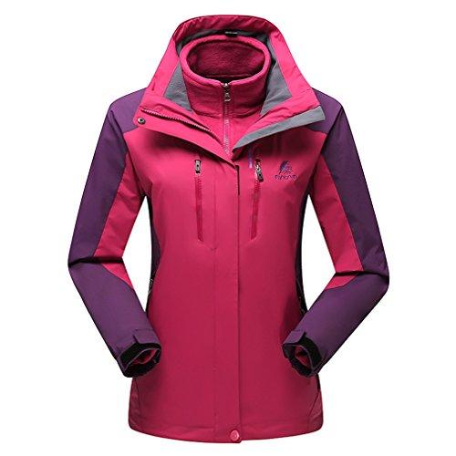 emansmoer Femme 3 en 1 Imperméable Outdoor Sport Veste de Camping Randonnée Escalade Coupe-Vent Capuche Chaud Manteau (XX-Large, Rouge Violet)