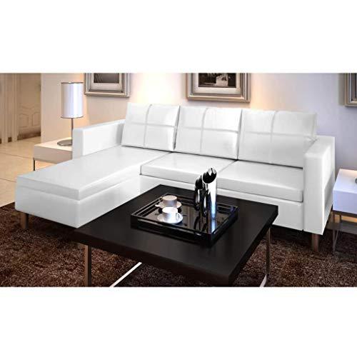 Interougehome - divano a 3 posti, in ecopelle, colore: bianco