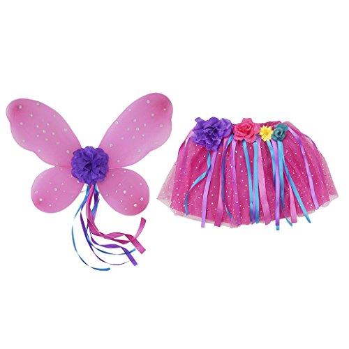 MagiDeal 4 Stück Mädchen Fee Kostüme Outfit Set mit Schmetterlingsflügel Tutu Rock Tanzkleid Blumen Ballettrock - Rosa (Engel Tutu Mädchen Kostüm)