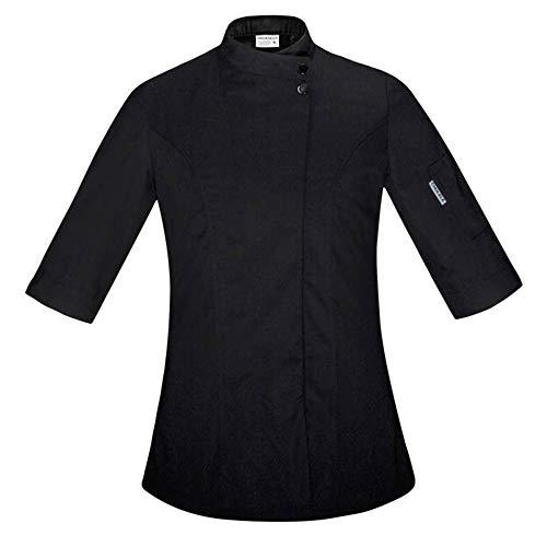 Food Chef Küchenjacke Weiß Hotel Uniform Sommer Restaurant Kellner Arbeitskleidung Kleidung Damen Küchenjacke,Black,S