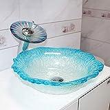 KOSGK Deluxe Luxur Tempered Waterfall Lavabo in Vetro Lavabo da Appoggio Lavamani per Pittura A Mano Lavello per Lavabo Lavandini Lavabo in Vetro (Colore: B)