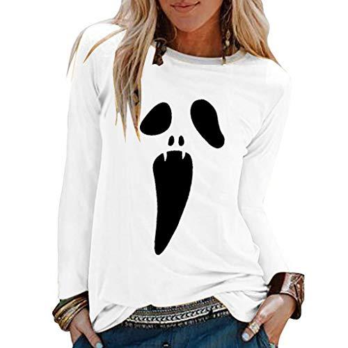 Kobay Cosplay Dress, T-Shirt Blouse Ample à Manches Longues à Col en V Et à Imprimé Halloween pour Femmes