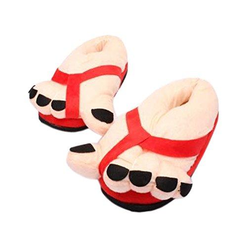 Minetom Funny Hiver Drôle Toe Intérieur De Grands Pieds Chauds Cadeaux Chaussons Doux En Peluche Chaussures Pour Adultes Pantoufles Rouge