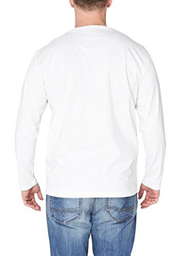 s.Oliver Big Size Herren Langarmshirt 15.502.31.2252, Einfarbig Weiß (white 0100)