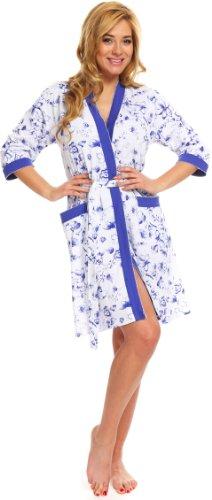 Italian Fashion IF Damen Morgenmantel Casablanca (Kornblume, S) (Herren-bademode Unternehmen)